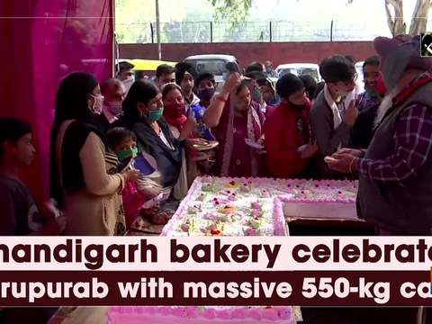 Chandigarh bakery celebrates Gurupurab with massive 550-kg cake