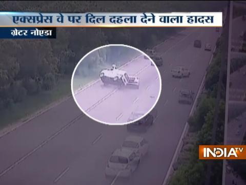 Watch shocking car collide accident on Noida–Greater Noida Expressway